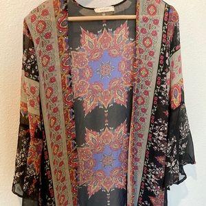 Boho- Bell Sleeve Sheer Kimono